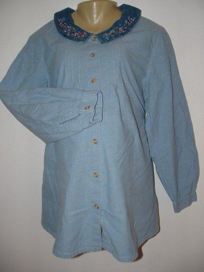 Maternity Long Sleeve Denim Dress Shirt Sz Medium *EUC*