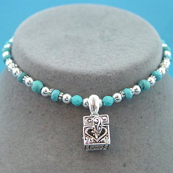 TURQUOISE /SILVER PRAYER BOX NECKLACE