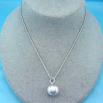 SILVER PLATED BASKETBALL CHARM NECKLACE
