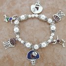 SILVER STRETCH BASKETBALL CHARM BRACELET
