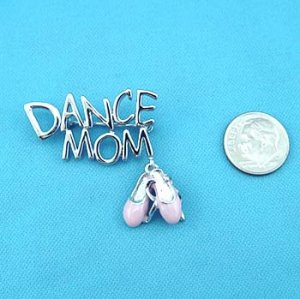 SILVER DANCE MOM PIN with PINK DANCING SHOE DANGLE
