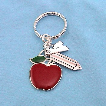 "SILVER PLATED with APPLE , PENCIL  and ""A' CHARMS"