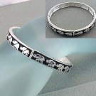 ELEPHANT THEME - BLACK WITH SILVER EMBOSSED ELEPHANTS - BRACELET