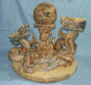 Nice Bone Carving Art Water Dragon Play Bead Figure