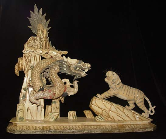 Nice Old Bone Carving Art Lucky Dragon Tiger Figure