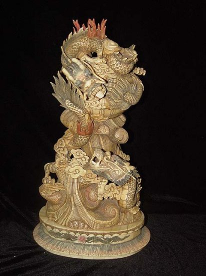 Nice Old Bone Carving Art Double Dragon Play Bead