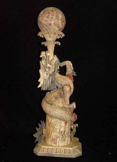 Nice Old Bone Carving Art Dragon Play Water Bead