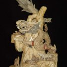 Nice Old Bone Carving Art Dragon King 12 Animals Figure