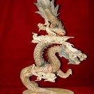 Nice Old Bone Carving Art Dragon Across Sky