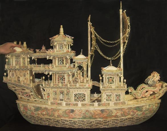 "Nice Old Bone Art Carving Dragon emperor Ship 46"""