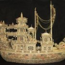 Nice Old Bone Art Carving Dragon emperor Ship 46""