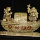 Nice Old Bone Art Carving Two Fortune God boat Bring Wealth