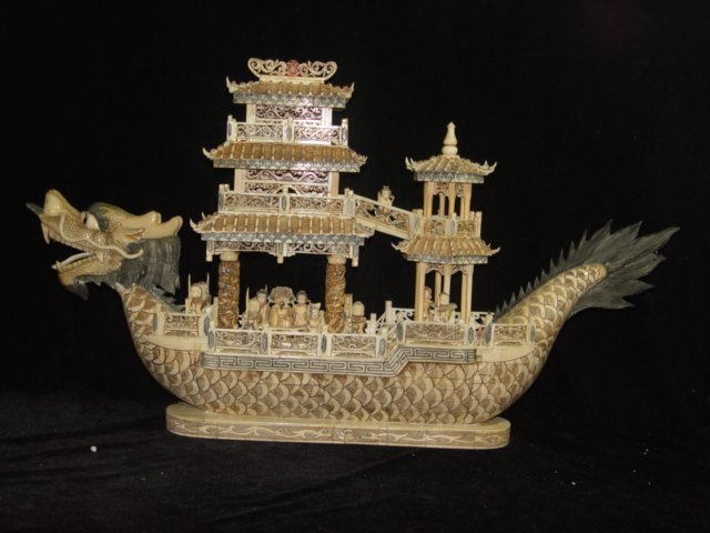 Nice Old Bone Art Handcarft Carving Dragon Ship 31""