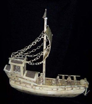Nice Old Bone Art Handcarft Carving Sailing boat