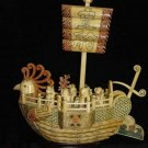 Nice Old Bone Art Handcarft God Phoenxi Sailing boat