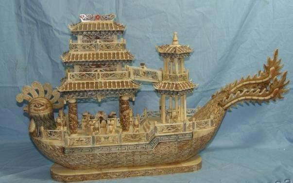 "Nice Old Bone Art Handcarft Lucky Phoenix boat 30"""