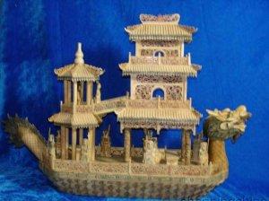 "Nice Old Bone Art Handcarft Lucky Dragon boat 25"""