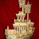 Nice Old Bone Art Handcarft Two Sailing War Ship