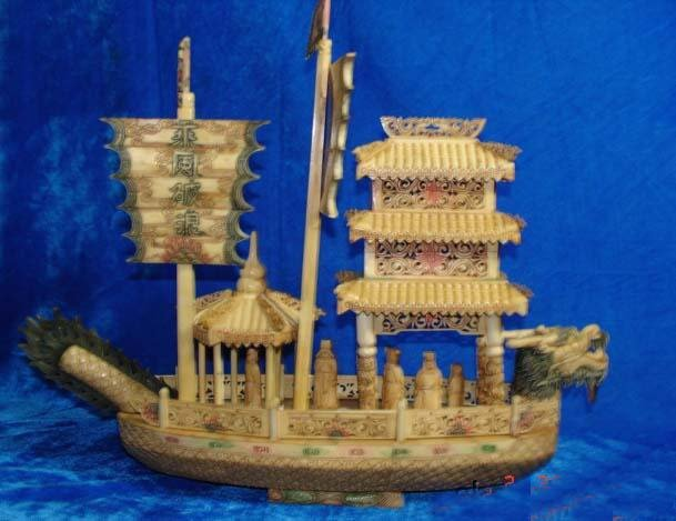 Nice Old Bone Art Handcarft Dragon Sailing Ship