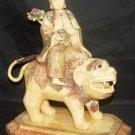 Old Bone Art Handicraft Water Lily Bodhisattva Ride Foo Dog Statue