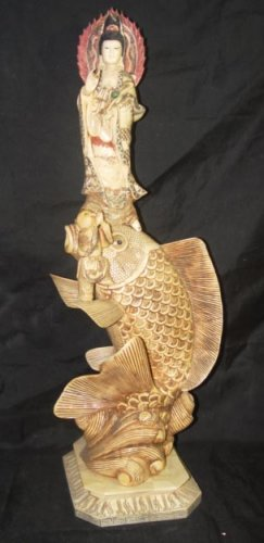 Old Bone Art Handicraft Lucky Kwan-yin Ride Fish Statue 29""