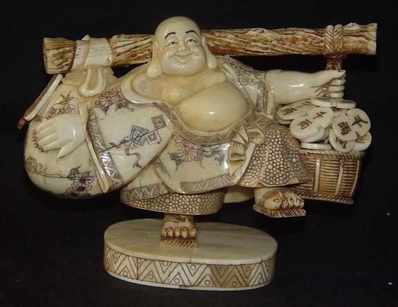 Old Bone Art Handicraft Lucky Wealth Buddha Bring Fortune