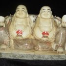 Old Bone Art Handicraft Lucky Two Fortune Buddha Figure