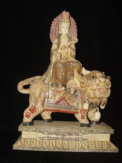 Old Bone Art Handicraft Bodhisattva Kwan-yin Ride Foo Dog Figure