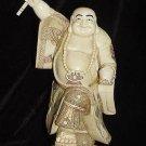 Old Bone Art Handicraft Fan Laughing Buddha Figure
