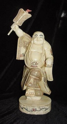 Old Bone Art Handicraft Fan Laughing Buddha Figure