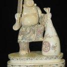Old Bone Art Handicraft Lucky Fan Wealth Buddha Figure