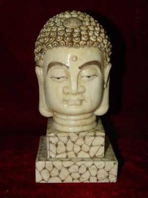 Old Bone Art Handicraft Lucky Sakyamuni Head Figure