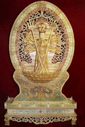 Old Bone Art Handicraft wizardly Thousand Hand Kwan-yin Figure 31.5""