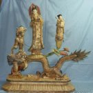 Old Bone Art Handicraft Lucky Water Lily Child Kwan-yin Figure 32""