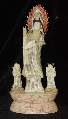 Old Bone Art Handicraft Lucky Water Lily Child Kwan-yin Figure