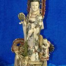 Old Bone Art Handicraft Lucky Kwan-yin Ride Dragon Statue