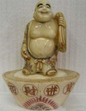 Old Bone Art Handicraft Lucky Fortune Buddha Lucky Statue