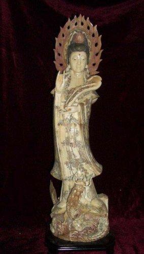 Old Bone Art Handicraft Ruyi Kwan-yin Ride Dragon Statue