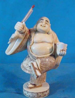 Old Bone Art Handicraft Lucky Laughing Mile Buddha Statue