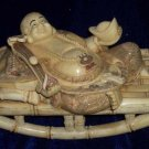 Old Bone Art Handicraft Laughing Mile Buddha Lie chaise longue