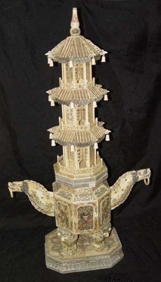 Old Bone Art Dragon Figure Handle Nice Carving Tower 37""