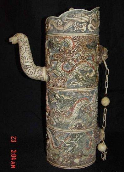 Old Bone Art Lucky Dragon Design Flagon Carving