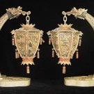 Old Bone Art Handicraft Draong Figure Pair palace lantern Decoration