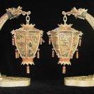 Old Bone Art Handicraft Draong Figure Pair palace lantern Decoration