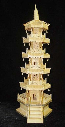 Old Bone Art Handicraft Carving Nice Tower Decoration 20.5""