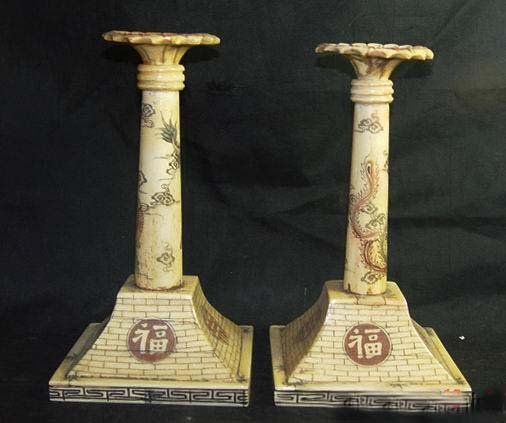 Exquisite Bone Art Handicraft Carving Dragon Piar candleholder