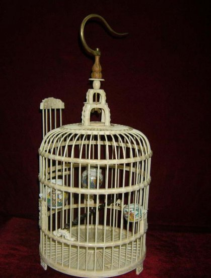Exquisite Bone Art Handicraft Carving bird cage