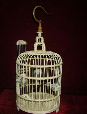 Exquisite Bone Art Handicraft Carving bird cage