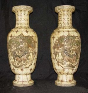 Exquisite Bone Art Handicraft Carving Lucky Kylin Pair Vase