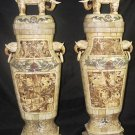 Exquisite Bone Art Handicraft Carving 8 Immortal Pair Elephant Bottle
